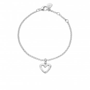 Silver Mini Open Heart Chain Bracelet
