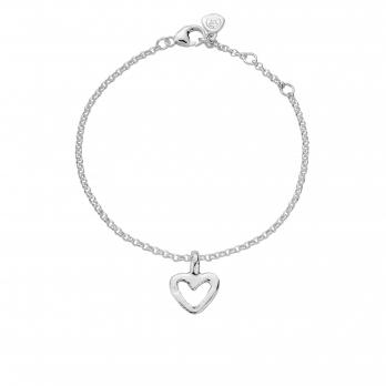 Silver Mini Open Heart Chain Bracelet