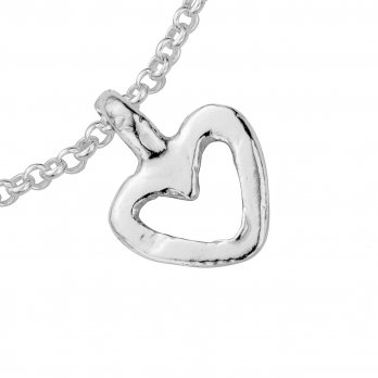 Silver Mini Open Heart Chain Bracelet detailed