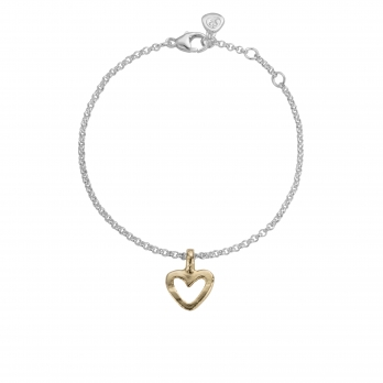 Silver & Gold Mini Open Heart Chain Bracelet