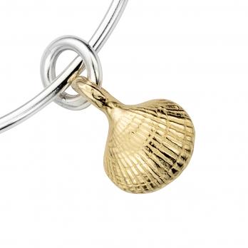 Silver & Gold Mini Shell Bangle detailed