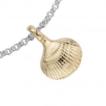 Silver & Gold Mini Shell Chain Bracelet detailed
