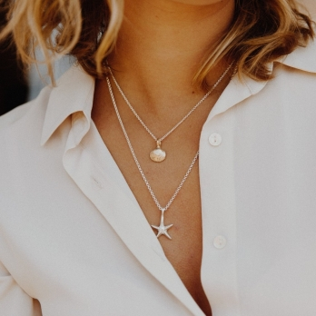 Silver & Gold Mini Shell Necklace detailed