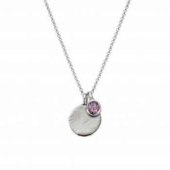 Silver Moon & Stone Amethyst Necklace