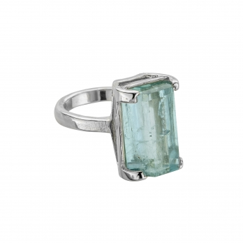 NERISSA White Gold Aquamarine Claw Ring