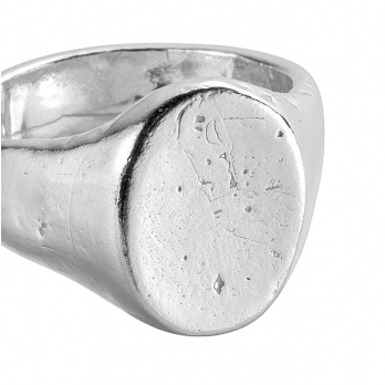 Silver Oval Signet Ring detailed