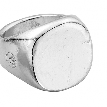 Silver Pebble Signet Ring detailed