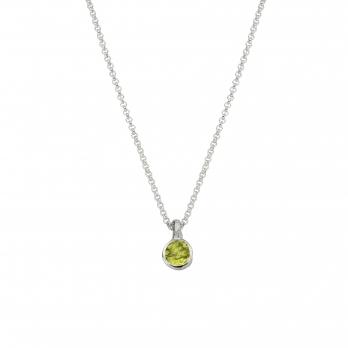 Silver Peridot Baby Treasure Necklace