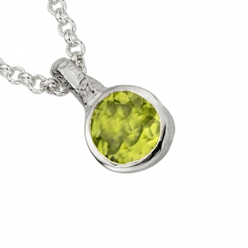Silver Peridot Baby Treasure Necklace detailed