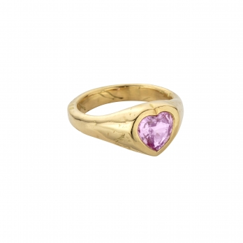 PETIT AMOUR Gold Pink Sapphire Heart Ring