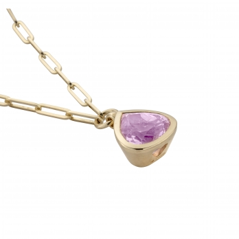 PETIT PÉTALE Gold Pink Tourmaline Trace Chain Necklace detailed