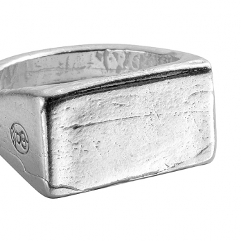 Silver Rectangle Signet Ring detailed
