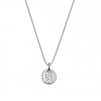 Silver Medium Roman Coin Snake Chain Necklace