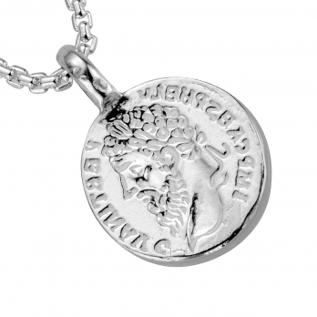 Silver Medium Roman Coin Snake Chain Necklace detailed
