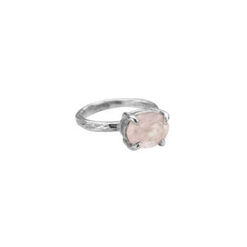 Silver Rose Quartz Claw Ring