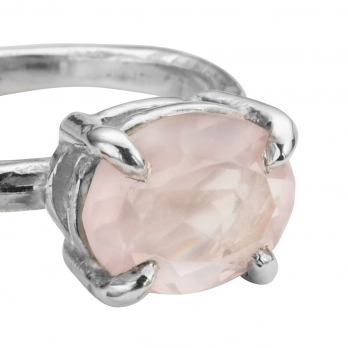 Silver Rose Quartz Claw Ring detailed