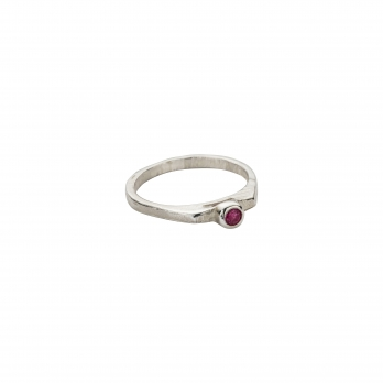 Silver Ruby Promise Ring