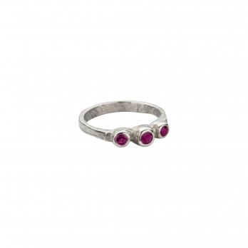 Silver Trinity Ruby Ring