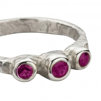 Silver Trinity Ruby Ring detailed