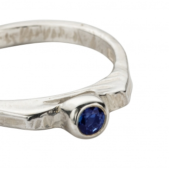 Silver Sapphire Promise Ring detailed