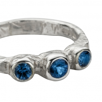 Silver Sapphire Trinity Ring detailed