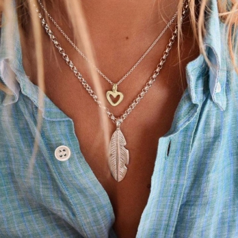 Silver & Gold Mini Open Heart Necklace detailed
