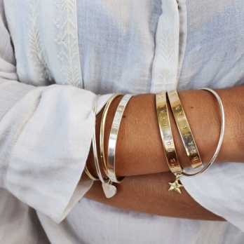 Silver & Gold Mini Star Bangle detailed