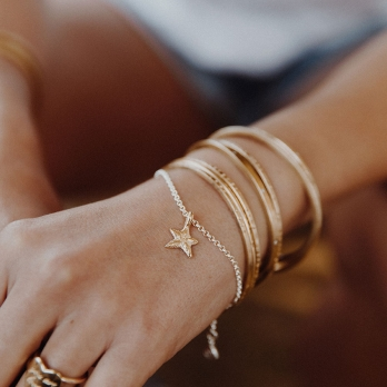 Silver & Gold Mini Star Chain Bracelet detailed