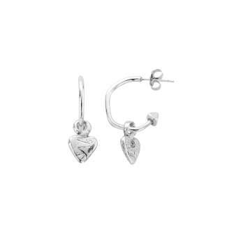 Mini Cupid Hoops With Baby Heart Charms detailed