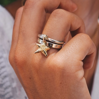 Silver & Gold Falling Star Ring detailed