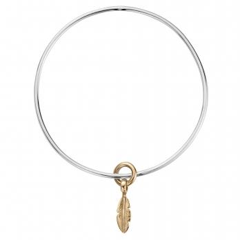 Silver & Gold Mini Feather Bangle
