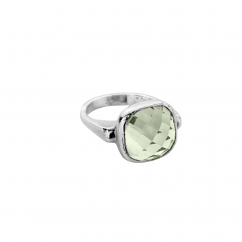 silver green quartz crystal ring