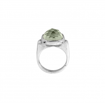 silver green quartz crystal ring detailed