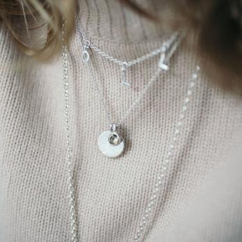 Silver Green Quartz Moon & Stone Necklace detailed