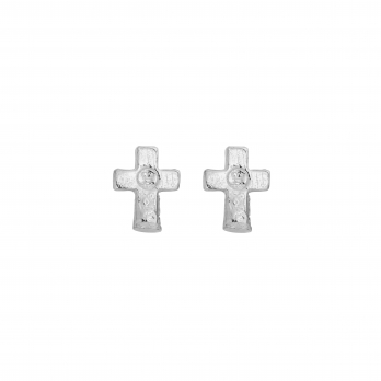Silver Little Cross Ear Charm Set