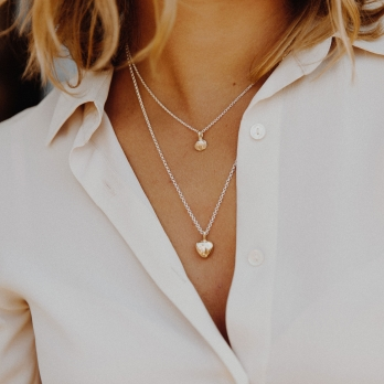 Silver & Gold Midi Grateful Heart Necklace detailed