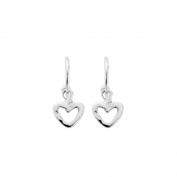 Mini Cupid Hoops With Mini Open Heart Charms