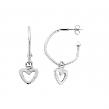 Maxi Cupid Hoops with Mini Open Heart Charms detailed