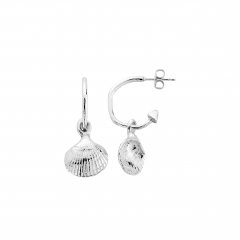 Mini Cupid Hoops with Mini Shell Charms detailed