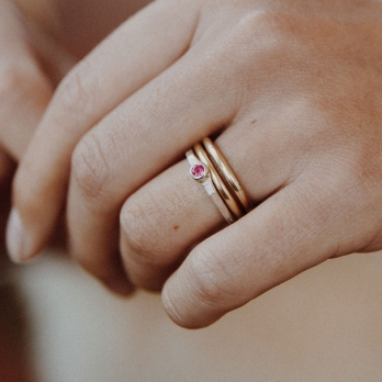 Silver Ruby Promise Ring detailed