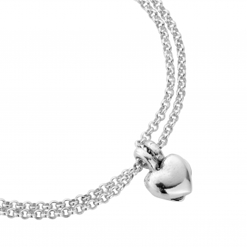 Silver Think of Me Heart Chain Bracelets detailed
