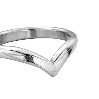 Ladies Silver Wishbone Wedding Band detailed