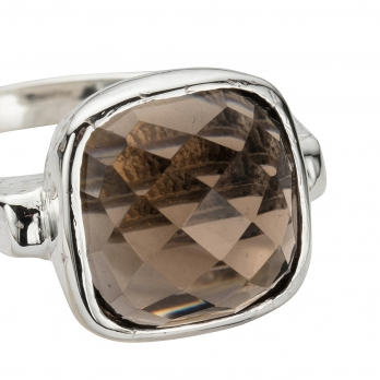 Silver Smokey Quartz Crystal Ring detailed