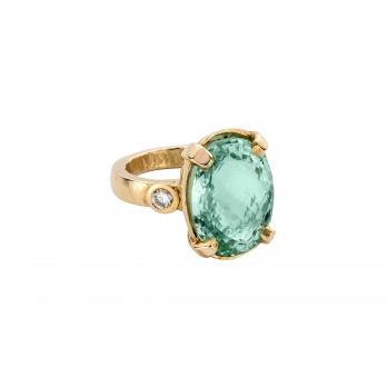 SOFIA Aquamarine & Diamond Claw Ring