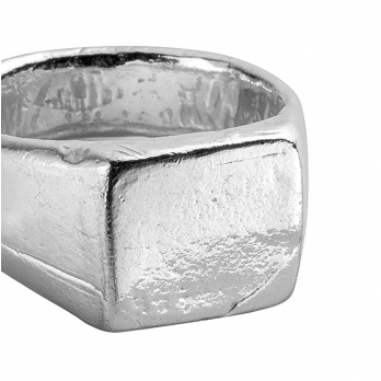 Silver Square Signet Ring detailed