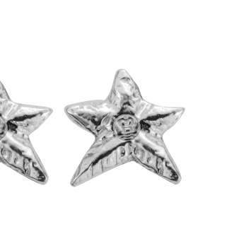 Silver Mini Star Stud Earrings detailed