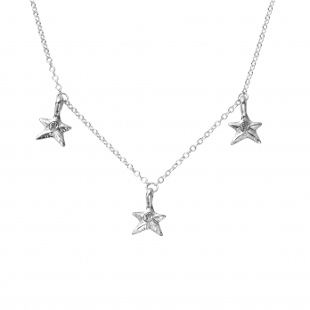 Silver Three Star Necklace