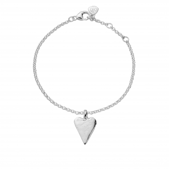 Silver Medium Heart Chain Bracelet