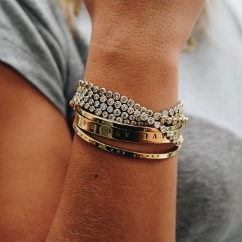 Gold Diamond Tennis Bracelet  detailed