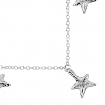 Silver Three Star Necklace detailed